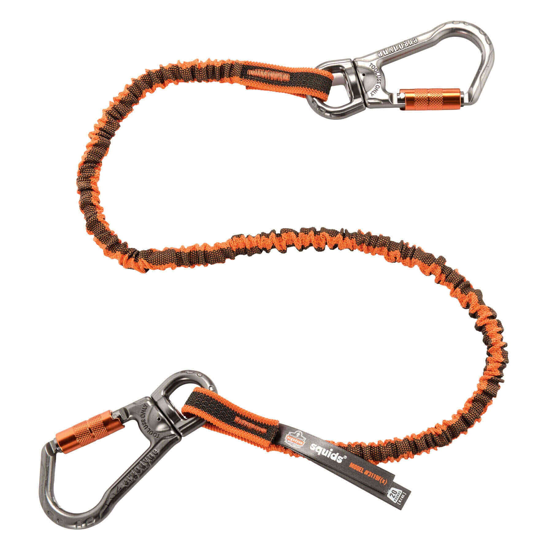 Squids 3119F(x) Triple-Locking Dual Carabiner Tool Lanyard with Swivel - 25lbs