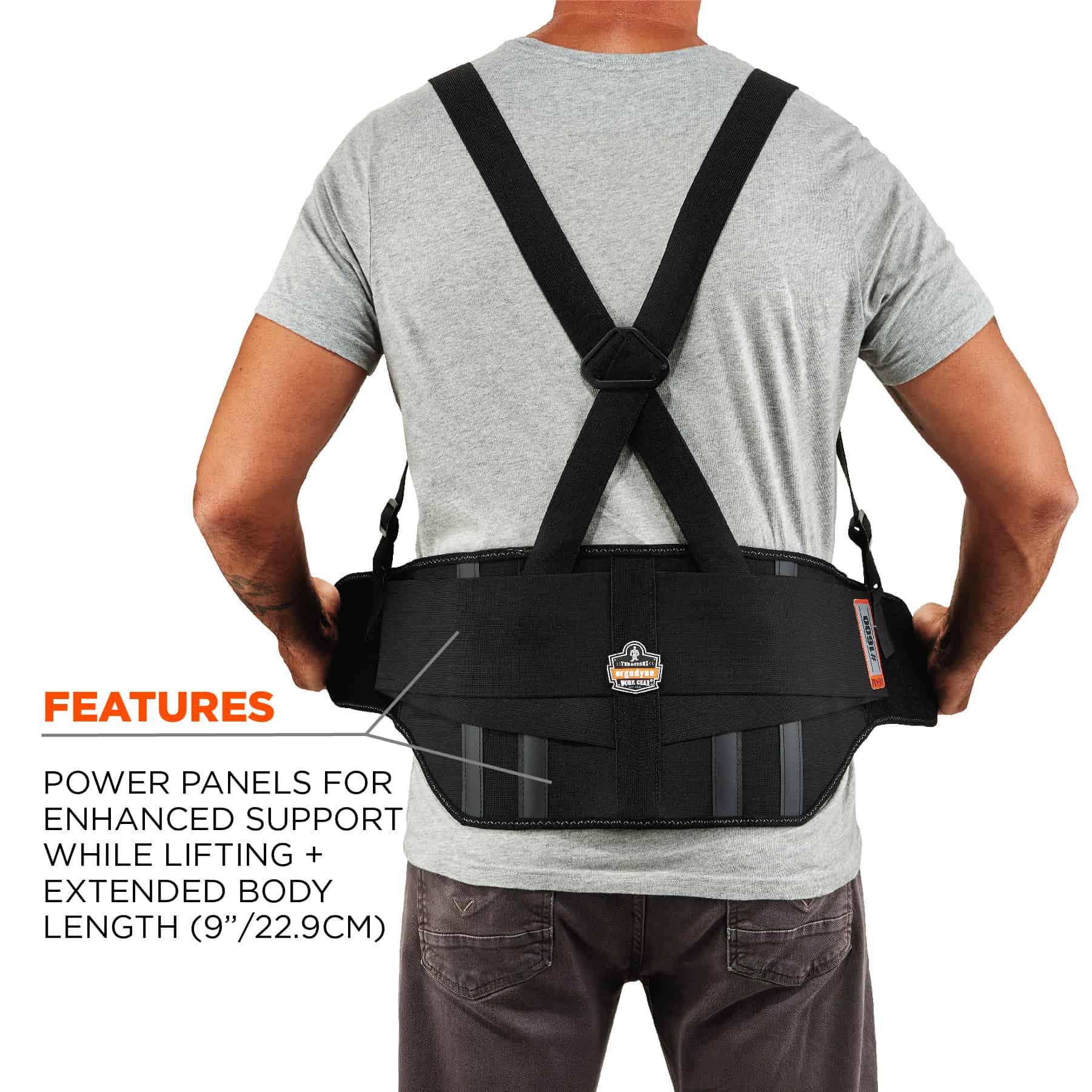 Ergodyne ProFlex 1500 Weight Lifters Style Back Support Belt Black Large