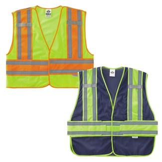 a lime public safety vest and navy blue public safety vest