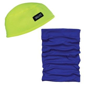 lime skull cap and blue multi-band