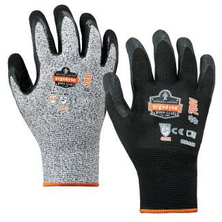 gray and black coated gloves