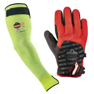 lime cut-resistant sleeve and black and red cut-resistant glove