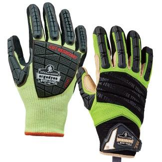 two lime and black dorsal impact-reducing gloves