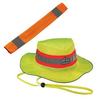 orange seat belt cover and lime ranger hat