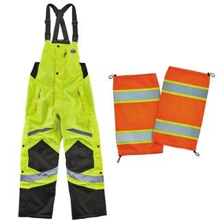 lime bibs and orange gaiters