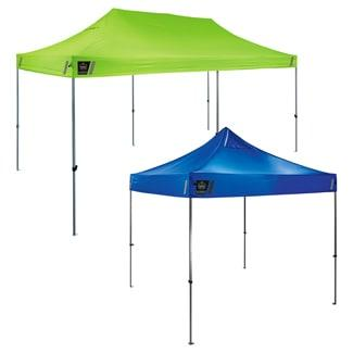 lime and blue pop-up shelters