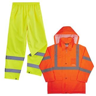 Lime rain pants and an orange rain jacket