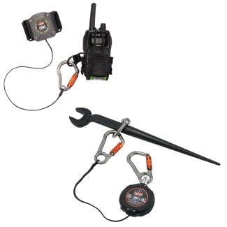 Two retractable tool lanyards