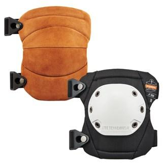 brown and white standard knee pads