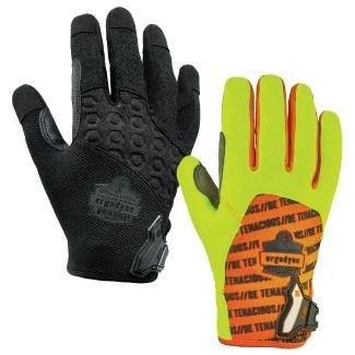 black and lime work gloves