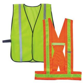 a lime non-certified vest and orange non-certified sash