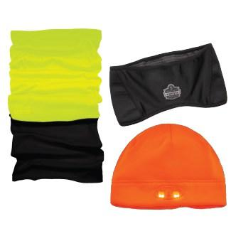 Thermal gaiter, thermal headband, and light up LED beanie
