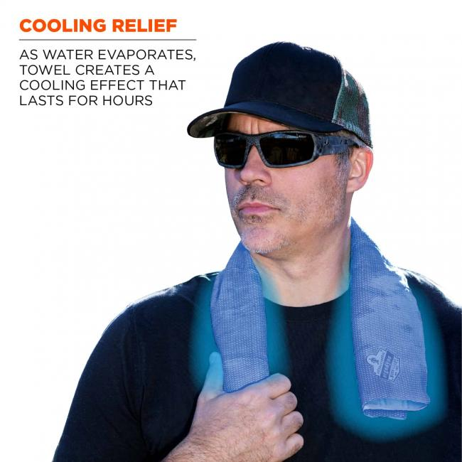 Cooling relief: As water evaporates, towel creates a cooling effect that lasts for hours