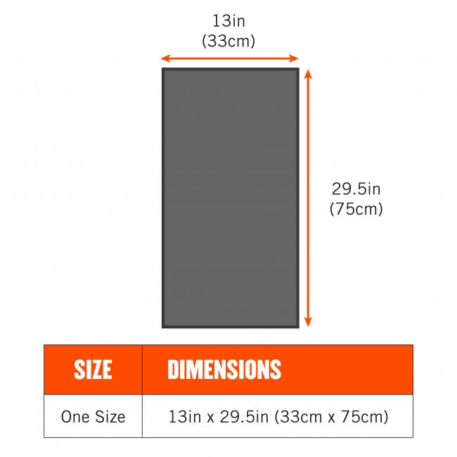 Size: one size. Dimensions: 13in x 29.5in (33cm x 75cm)
