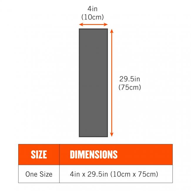 Size: One size. Dimensions: 4in x 29.5in (10cm x 75cm)