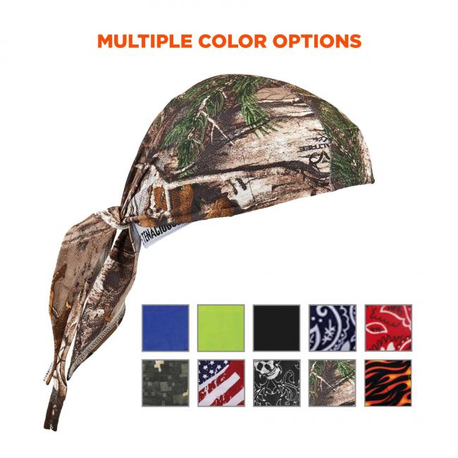 Multiple color options: Color swatches for blue, lime, black, navy western, red western, camo, stars & stripes, skulls, real tree, and flames.