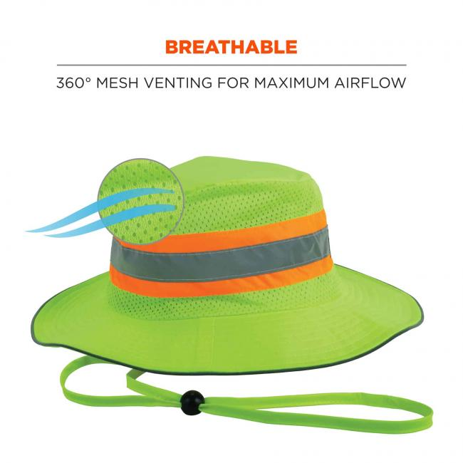 Breathable: 360 degree mesh venting for maximum airflow. Image shows detail on airflow.