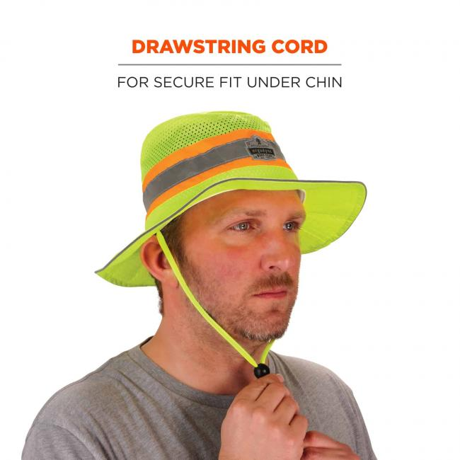 Drawstring cord: for secure fit under chin. Image shows model adjusting cord.