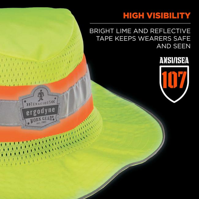 High visibility: bright lime and reflective tape keeps wearers safe and seen. Badge says ANSI/ISEA 107.