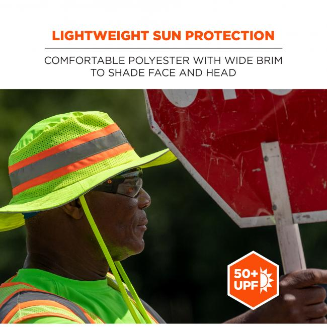 Lightweight sun protection: comfortable polyester with wide brim to shade face and neck.