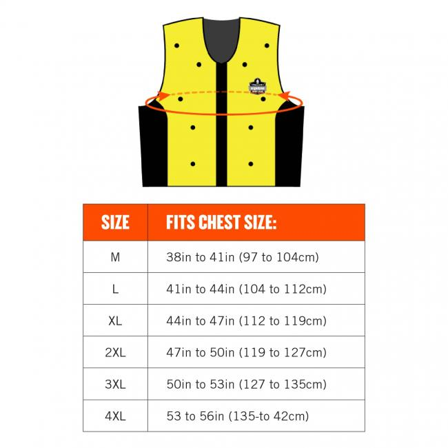 Size chart. Size M fits chest size: 38in to 41in (97 to 104cm). Size L fits chest size: 41in to 44in (104 to 112cm). Size XL fits chest size: 44in to 47in (112 to 119cm). Size 2XL fits chest size 47in to 50in (119 to 127cm). Size 3xl fits chest size: 50in to 53in (127 to 135cm). Size 4xl fits chest size: 53 to 56in (135 to 42cm)