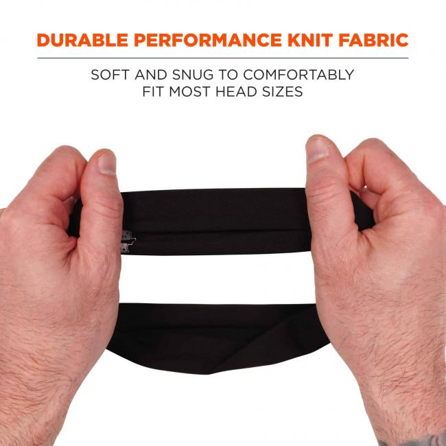 Durable performance knit fabric: soft and snug to comfortably fit most head sizes