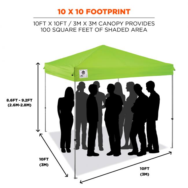 10 x 10 footprint: 10ft x 10ft / 3m x 6m canopy provides up to 100 square feet of shaded area. Diagram shows dimensions and silhouettes standing under tent.