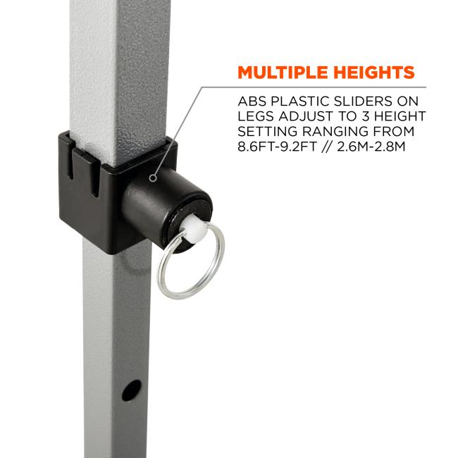 Multiple heights: ABS plastic sliders on legs adjust to 3 height settings ranging from 10ft - 14ft / 3m - 4m