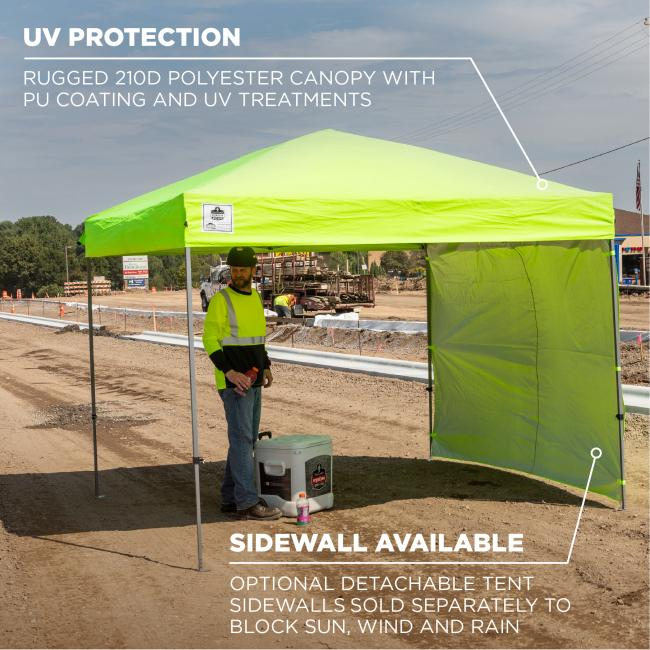 UV protection: rugged 210D polyester canopy with PU coating and UV treatments. Sidewall available: optional detachable tent sidewalls sold separately to block sun, wind and rain