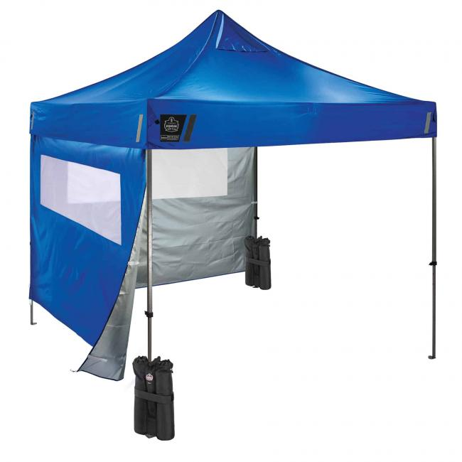 Blue tent kit with sidewall with mesh window