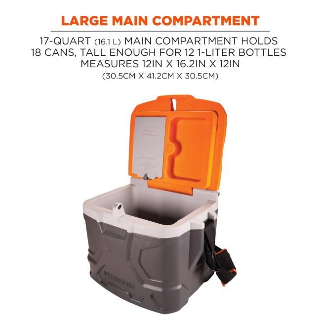 large main compartment: 17-quart (16.1 L) main compartment holds 18 cans, tall enough for 12 1-liter bottles. measures 12in x 16.2 in x 12 in (30.5 cm x 41.2 cm x 30.5cm) image 2