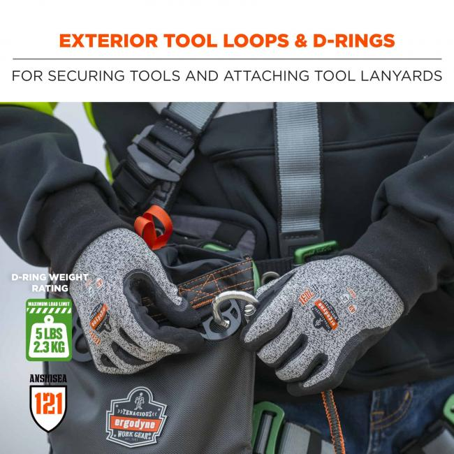 Exterior tool loops and d-rings: For securing tools and attaching tool lanyards. Icons on bottom say D-ring weight rating: 5lbs (2.3 kg). ANSI/ISEA 121.