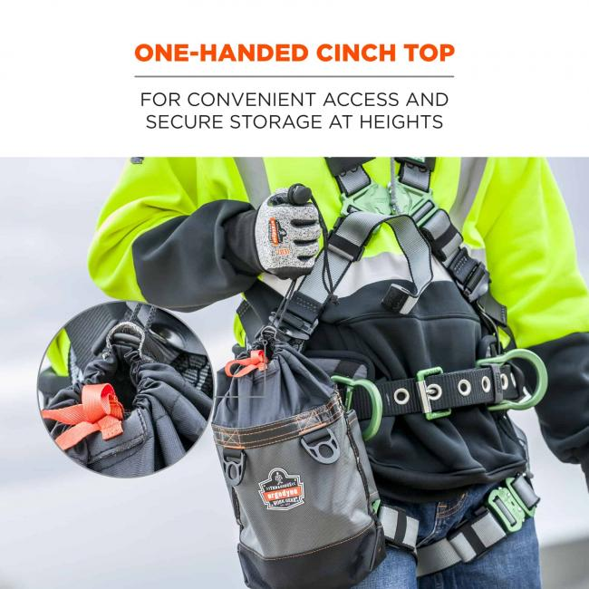 One-handed cinch top: for convenient access and secure storage at heights.