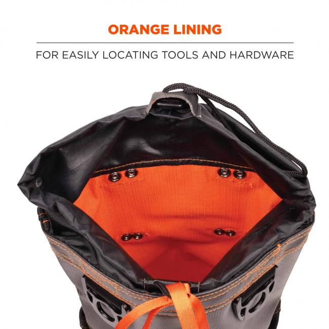 Orange lining: for easily locating tools and hardware