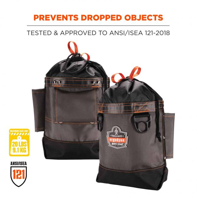 Prevents dropped objects: tested & approved to ANSI/ISEA 121-2018. Max. Load capacity: 20 lbs/9.1 kg. ANSI/ISEA 121.