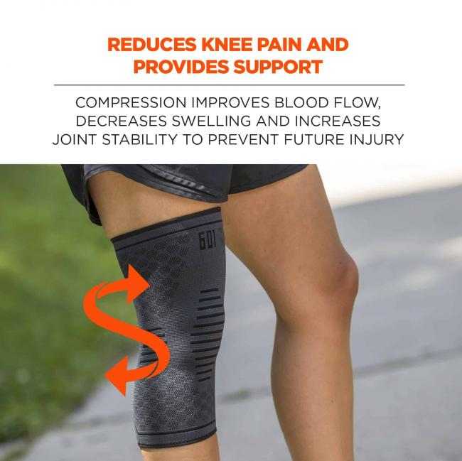 Reduces knee pain and provides support: compression improves blood flow, decreases swelling and increases joint stability to prevent future injury. Image shows sleeve on person's leg, with arrows to indicate compression.