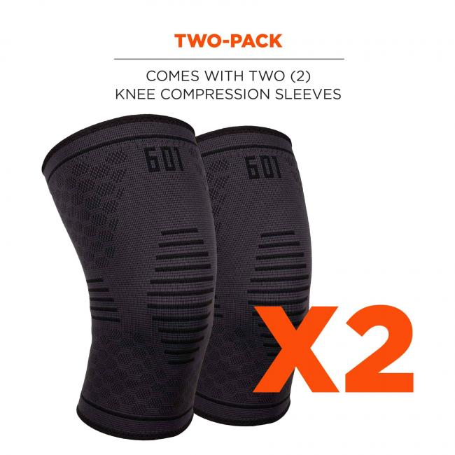 Two-pack: comes with two (2) knee compression sleeves.