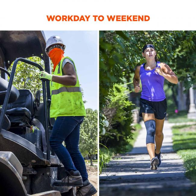 Workday to weekend. Image on left shows construction worker wearing sleeve under clothes. Image on right shows a runner wearing sleeve.