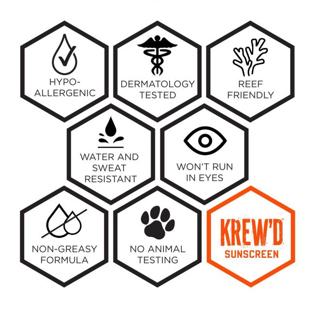 krew'd sunscreen: hypo-allergenic, dermatology tested, reef friendly, fragrance free, won't run in eyes, non-greasy formula, no animal testing
