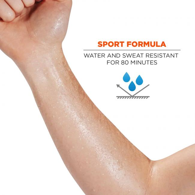 sport formula: water and sweat resistant for 80 minutes