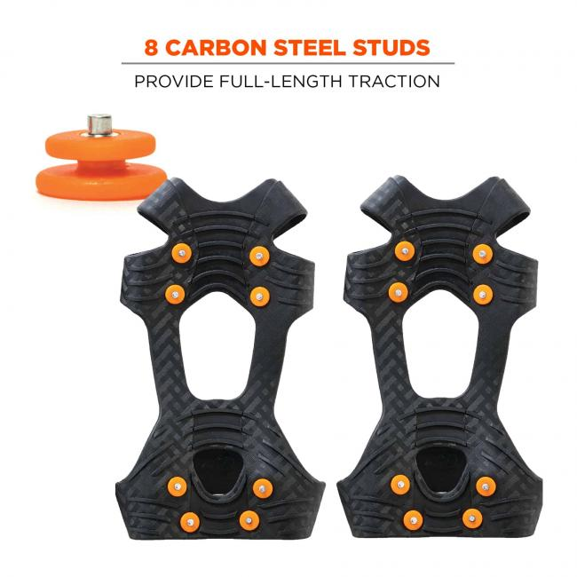 8 carbon steel studs: provide full-length protection
