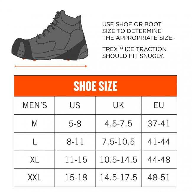 Use shoe or boot size to determine the appropriate size. Trex Ice Traction should fit snugly. Size M dimensions: 5-8 US Mens. Size L dimensions: 8-11 US Mens. Size XL dimensions: 11-14 US Mens. Size XXL dimensions: 15-18 US Mens.