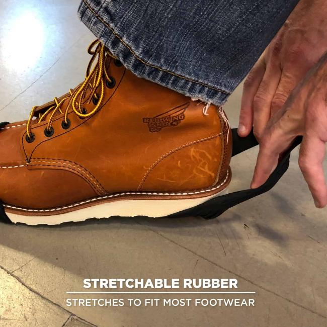 Stretchable rubber: Stretches to fit most footwear