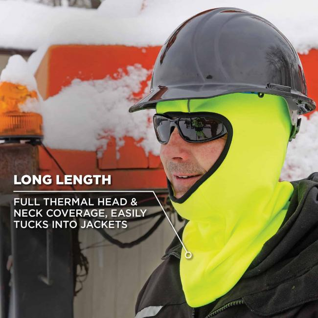 Long length: full thermal head & neck coverage easily tucks into jackets.