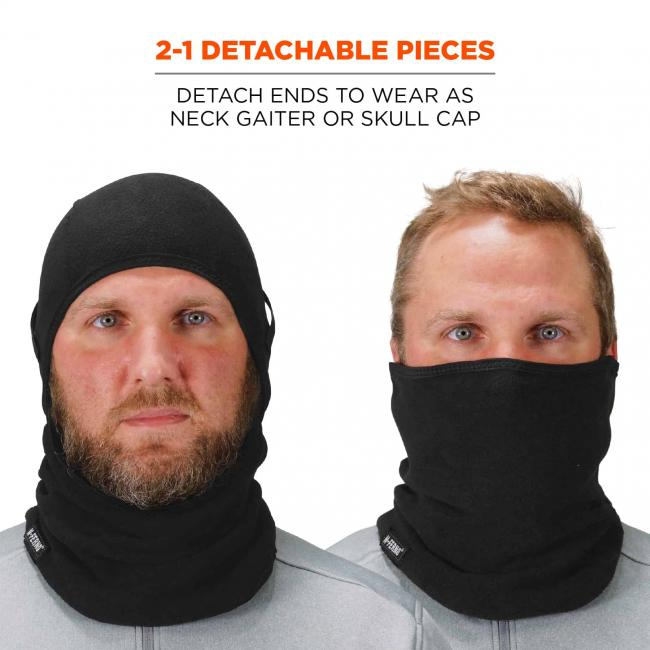2-1 Detachable pieces: detach ends to wear as neck gaiter or skull cap