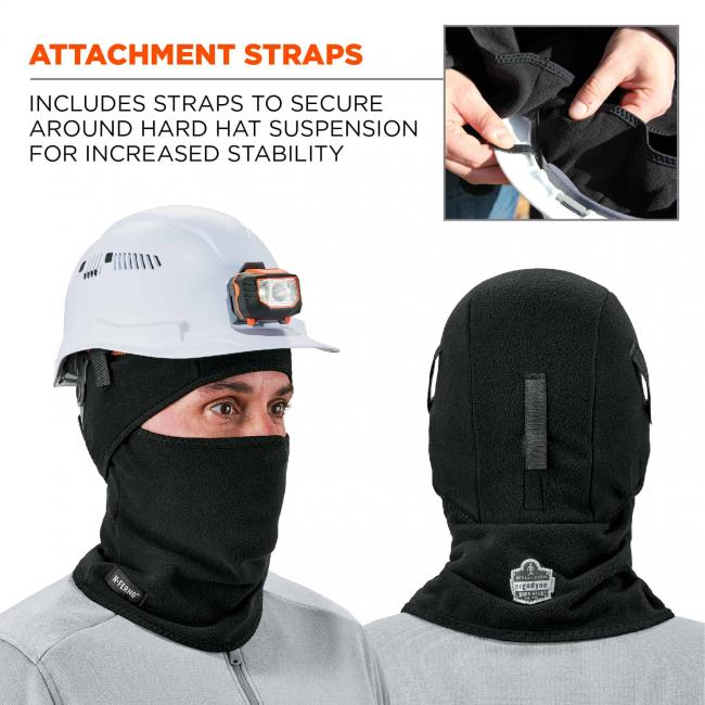 Attachment straps: includes straps to secure around hard hat suspension for increased stability