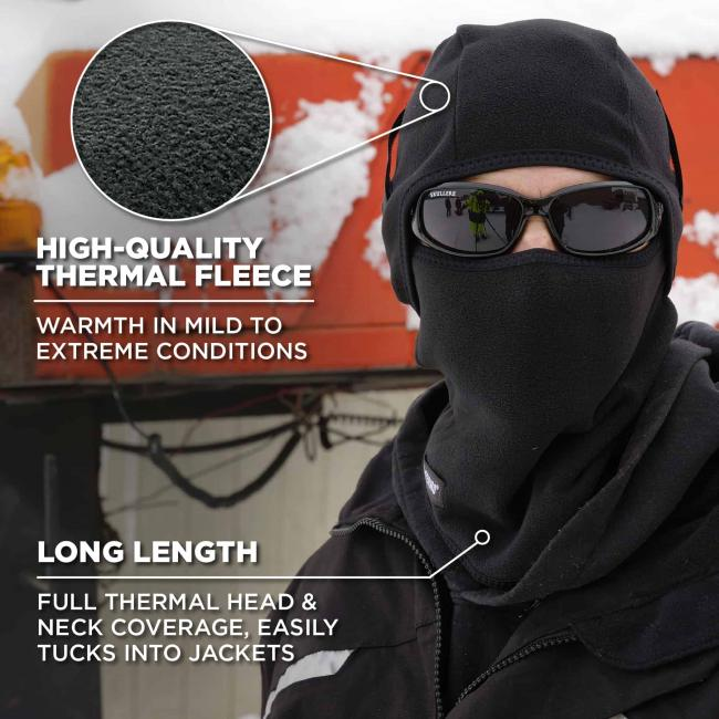 High-quality thermal fleece: Warmth in mild to extreme conditions. Long length: full thermal head & neck coverage easily tucks into jackets