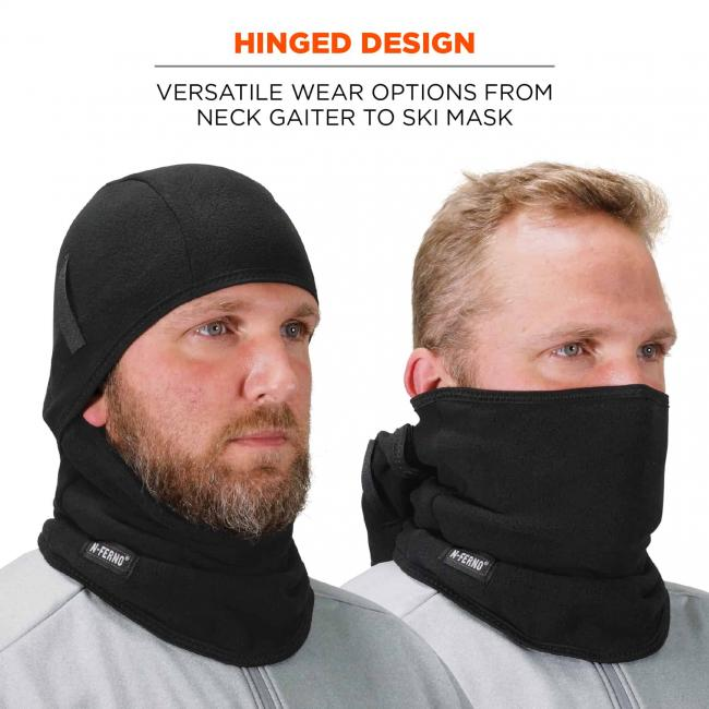 Hinged design: versatile wear options from neck gaiter to ski mask