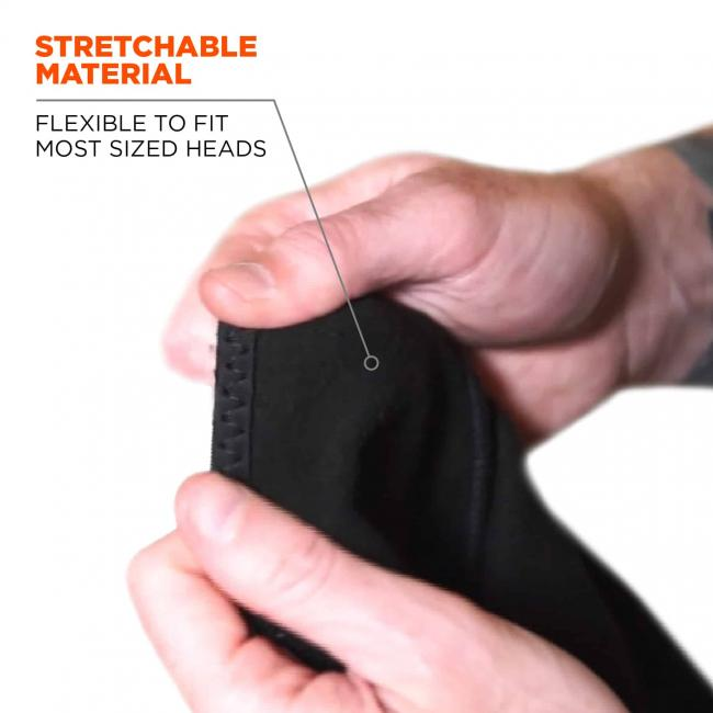 Stretchable material: flexible to fit most sized heads