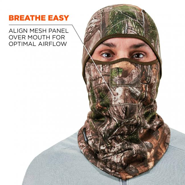 Breathe easy: align mesh panel over mouth for optimal airflow. Arrow points to mouth piece.